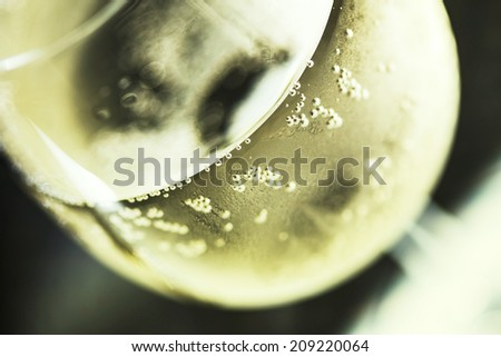 wine with soda, bubbles in the cold humid glass - stock photo