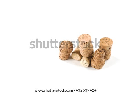 Wine wooden cork on white backrgound. From alcohol beverage. Vintage brown winery object. Natural texture. Wppd stopper collection. - stock photo