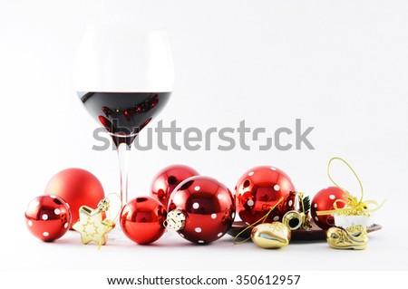 Wineglass and Christmas decoration