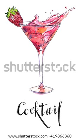 Wineglass of strawberry cocktail, hand drawn - watercolor Illustration - stock photo