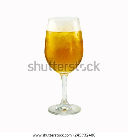 Wineglass with beer. Concept and idea isolated with white background - stock photo