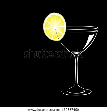 Wineglass with cocktail and lemon on black background. Raster version.