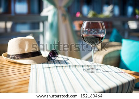 Wineglass with red wine - stock photo