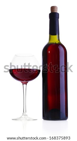 Wineglass with red wine and bottle isolated on white