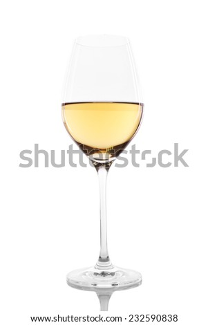 Wineglass with white wine isolated on white