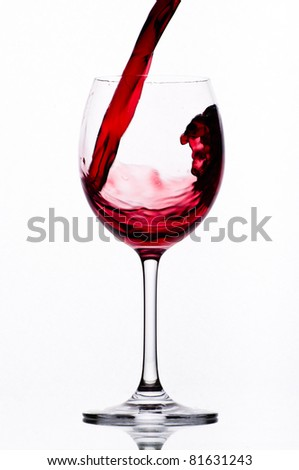 Wineglass with wine splashing in it, isolated on white