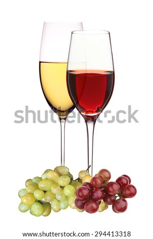 Wineglasses with white and red wine with grapes isolated on white - stock photo