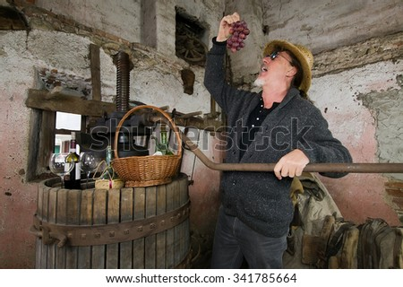 winemaker next to old press testing grapes - stock photo