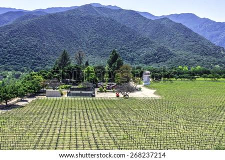 winery along Monterey road highway G16, near Carmel Valley, on the California Central Coast - stock photo