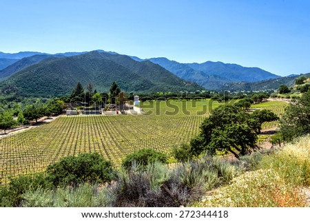 winery along Monterey road highway G16, near Carmel Valley, on the California Central Coast  - stock photo
