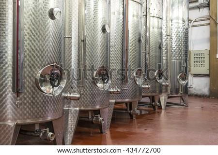 winery modern , aluminum tanks - stock photo
