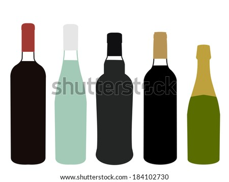 Wines of Europe Full Bottles Illustration