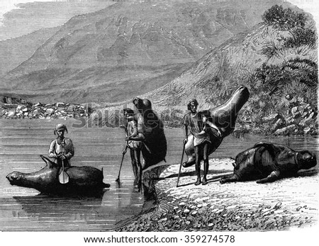 Wineskins to cross Beas river, vintage engraved illustration. Magasin Pittoresque 1880.
