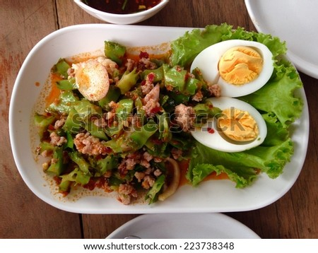 Wing Bean Shrimp Salad,Thai spicy food  - stock photo