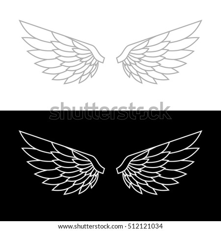 Wing Icon on White and Black Background. illustration