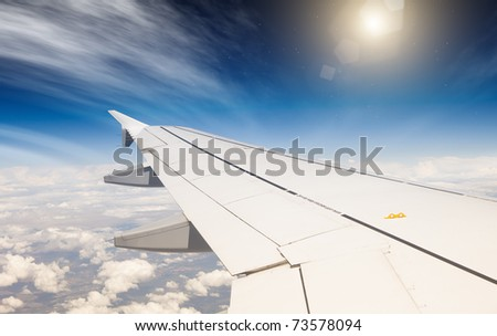 wing of airplane - stock photo