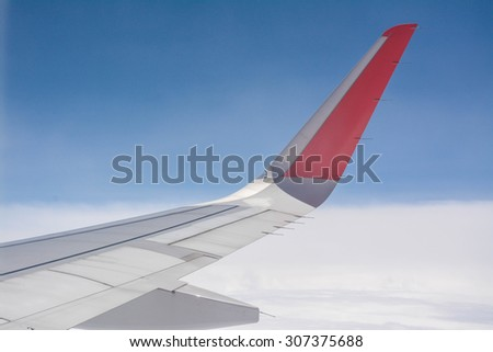 wing of the plane - stock photo