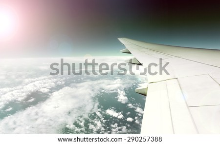 Wing plane and travel plane concept - stock photo