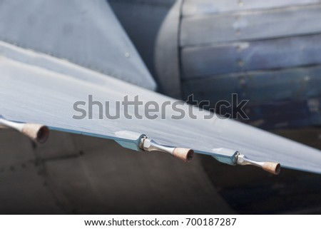 Wing sensors on fighter jet. Details of aircraft