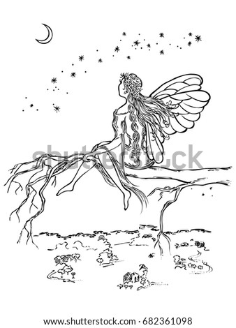 Winged fairy sit in a branch tree looks at the moon