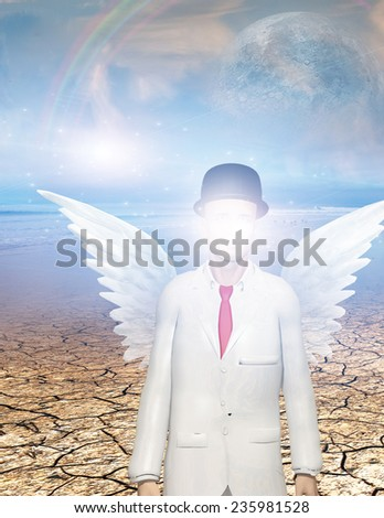 Winged figure with obscured face in surreal landscape Elements of this image furnished by NASA - stock photo