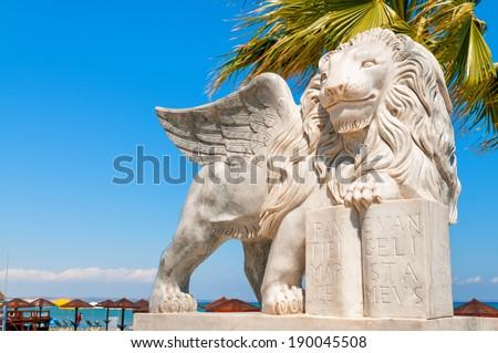 Winged Lion statue at Foinikoudes promenade. Larnaca. Cyprus - stock photo