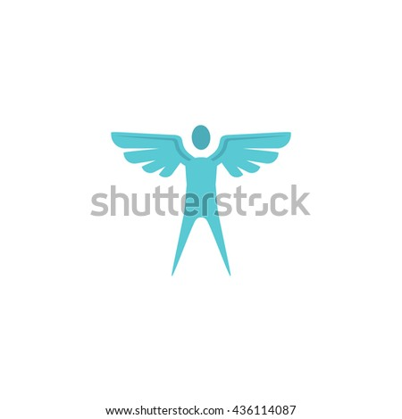 Winged man. Color simple flat icon on white background
