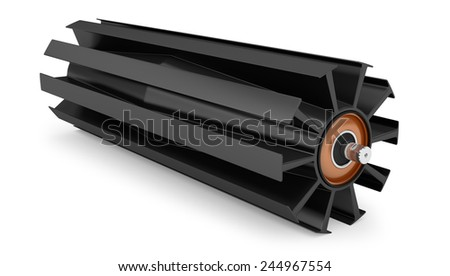 Winged pulley for drum conveyor isolated on white background - stock photo