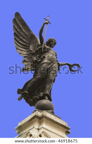 Winged statue of Victory in Colchester War Memorial, England.