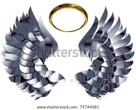 Wings and nimbus made of metal and gold isolated on white background. Easy to use and transform, can be used separately. 3d illustration. - stock photo