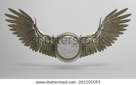 Wings in 3D with medallion, isolated with a clipping path