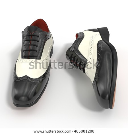Wingtip shoes black isolated on white 3D Illustration