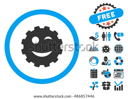 Wink Gear Smiley Icon Free Bonus Stock Illustration 486857446