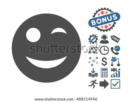 Wink Pictograph Bonus Symbols Glyph Illustration Stock Illustration