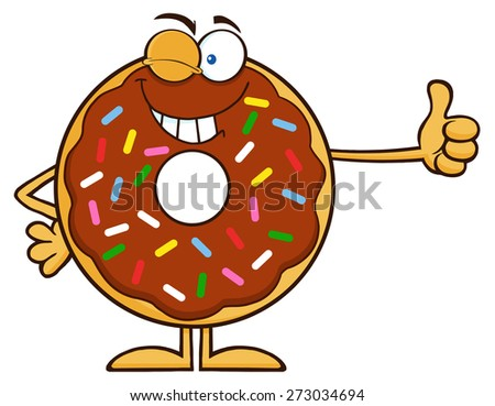 Winking Chocolate Donut Cartoon Character With Sprinkles Giving A Thumb Up. Raster Illustration Isolated On White - stock photo