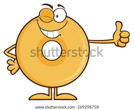 Winking Donut Cartoon Character Giving A Thumb Up. Raster Illustration Isolated On White - stock photo