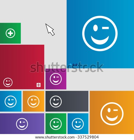 Winking Face icon sign. Metro style buttons. Modern interface website buttons with cursor pointer. illustration