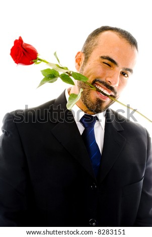Winking Guy with Rose - stock photo