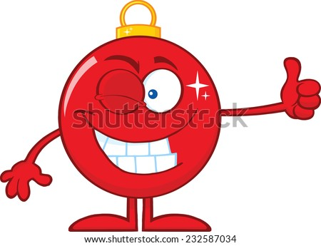 Winking Red Christmas Ball Cartoon Character Giving A Thumb Up. Raster Illustration Isolated On White Background - stock photo