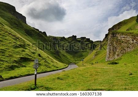 Winnats Pass in Derbyshire - stock photo