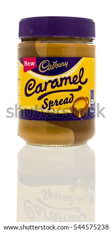 Winneconne, WI - 28 December 2016:  Container of Cadbury caramel spread on an isolated background.