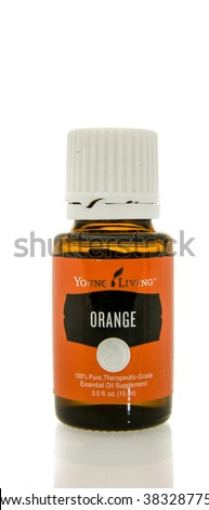 Winneconne, WI - 10 Feb 2016:  Bottle of Young Living orange essential oil.