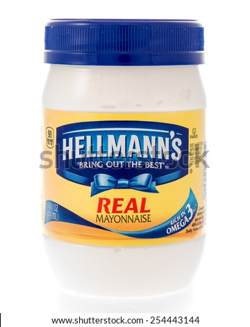 Winneconne, WI - 20 February 2015:  Plastic jar of Hellmann's Real Mayonnaise