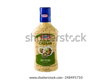 Winneconne WI - 30 January 2015: Bottle of Kraft Classic Ceasar salad dressing.  Kraft was founded in 1903 and is located in Northfield, IL. - stock photo