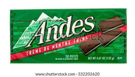 Winneconne, WI -27 Oct 2015: Package of Andes creme de menthe thins candy.