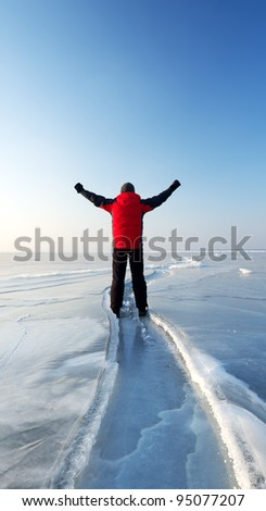 Winner amongst snow plain. Bright sky and ice - stock photo