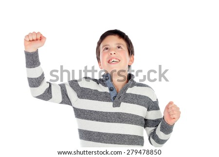 Winner boy raising their arms isolated on a white background - stock photo