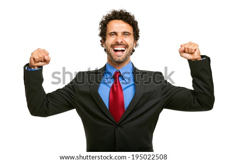 Winner businessman isolated on white  - stock photo