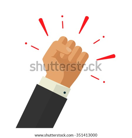 Winner hand up fist sign concept, banking workers, employees revolution against leadership sticker, politics achievement, businessman shouting logo label design illustration isolated on white image - stock photo
