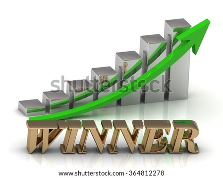WINNER- inscription of gold letters and Graphic growth and gold arrows on white background